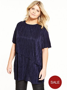 v-by-very-curve-curve-2-in-1-plisse-tunic-navy