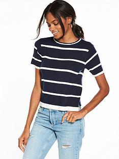 v-by-very-short-sleeve-stripe-jumper