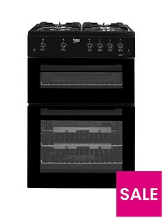 Beko KDG611K 60cm Gas Cooker with Full Width Gas Grill and Connection - Black