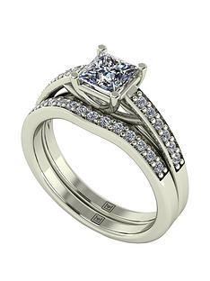 moissanite-moissanite-premier-collection-9ct-gold-110ct-total-princess-cut-centre-moissanite-bridal-set