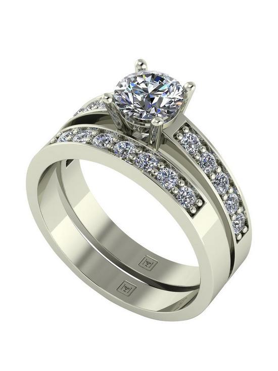 9a2e125054c98 Moissanite Lady Lynsey 9ct Gold 1.20ct total Round Brilliant Centre  Moissanite bridal set