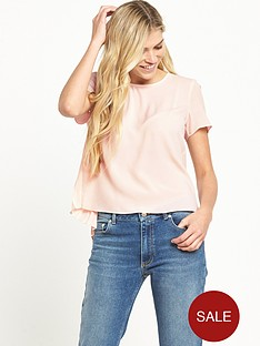 french-connection-classic-crepe-short-sleeve-pleat-top-blush