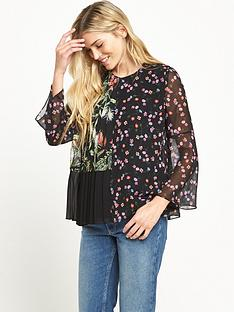 french-connection-bluhm-botero-sheer-long-sleeved-flared-top