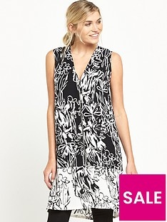 french-connection-copley-crepe-sleeveless-v-neck-tunic-blackwhite