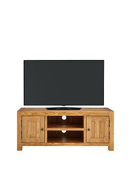 Product photograph showing Luxe Collection - Grantham 100 Solid Oak Ready Assembled Tv Unit - Fits Up To 55 Inch Tv