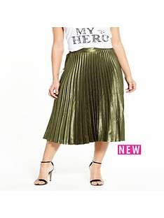 replay-pleated-skirt-olive-green