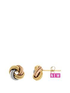 bracci-bracci-9ct-gold-3-tone-8mm-textured-amp-plain-knot-stud-earrings