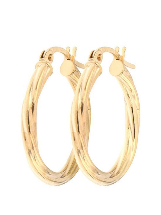 9aee89910 Bracci Bracci 9CT Yellow Gold 19mm Swirl Hoop Creole Earrings | very ...