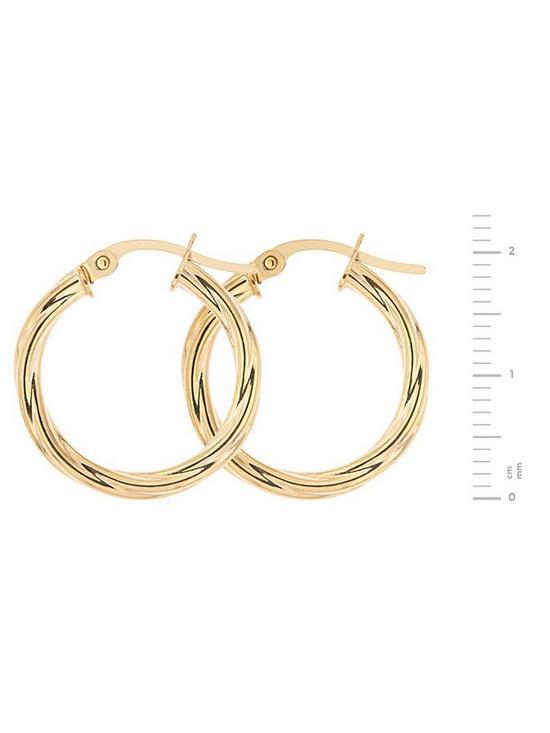 8ef1bbb54 ... Bracci Bracci 9CT Yellow Gold 19mm Swirl Hoop Creole Earrings. View  larger