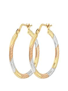 cd5b08aa1 Bracci Bracci 9CT 3 Col Diamond Cut 24mm Hoop Creole Earrings