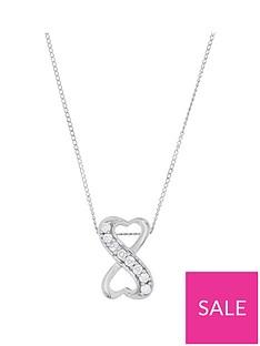 1d4e992d3 Love DIAMOND 9ct White Gold 8 Point Diamond Infinity Pendant