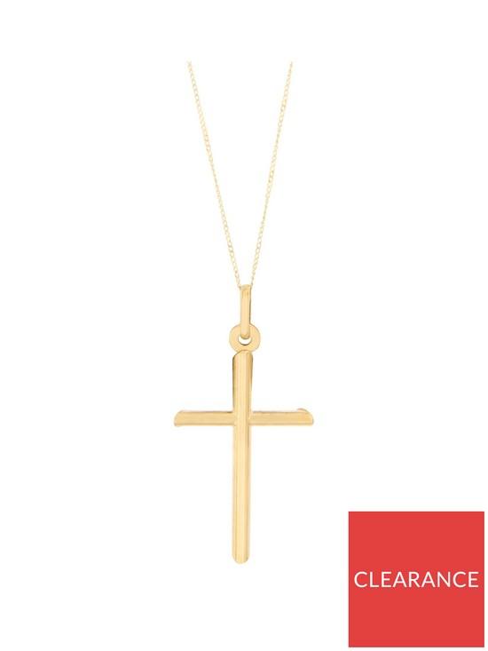 6e2878f01 Bracci Bracci 9CT Yellow Gold Cross Pendant On Curb Chain | very.co.uk