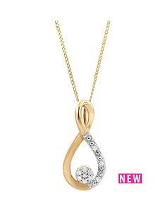 love-diamond-9ct-yellow-gold-diamond-set-cluster-twist-pendant