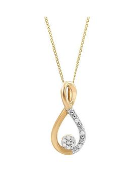 love-diamond-9ct-yellow-gold-diamond-set-cluster-twist-pendant