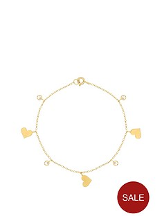 the-love-silver-collection-sterling-silver-gold-plated-cubic-zirconia-heart-bracelet