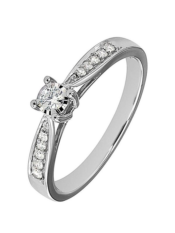 Love Diamond 9ct White Gold 19 Point Diamond Engagement Ring