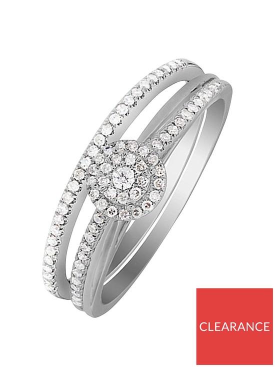 Wedding Ring Sets.9ct White Gold 25 Point Diamond Bridal Ring Set