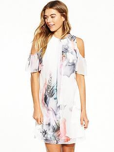 little-mistress-floral-cold-shoulder-shift-dress