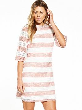 little-mistress-crochet-stripe-short-sleeve-shift-dress-peach