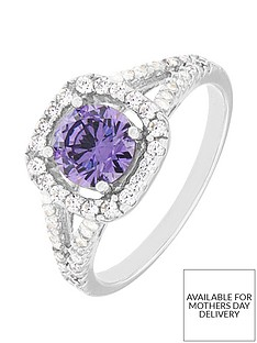 the-love-silver-collection-sterling-silver-clear-and-purple-cubic-zirconianbspcluster-ring