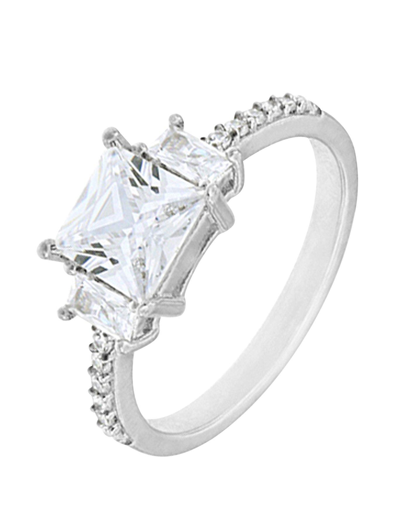 Pink Princess Cut Cubic Zirconia Designer Ring Rhodium Plated Sterling Silver