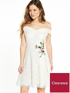 little-mistress-petite-lace-mini-bardot-dress-with-floral-embroidery