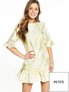 little-mistress-petite-all-over-jacquard-shift-dress-with-fluted-hem-lemon