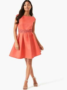 little-mistress-little-mistress-coral-skater-with-mesh-trim