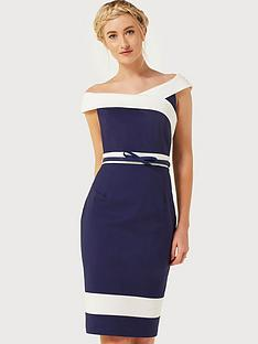 paper-dolls-contrast-panel-dress-with-bow-belt-navycream