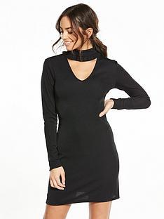 fashion-union-ruffle-neck-jumper-dress-black