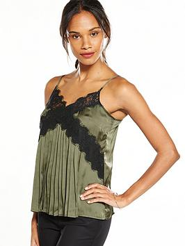 v-by-very-pleated-lace-cami-khaki