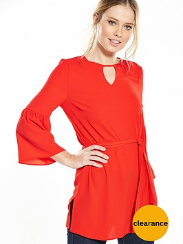 v-by-very-fluted-sleeve-tie-waist-tunic