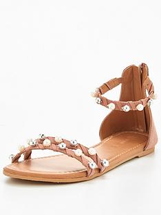 v-by-very-abbie-real-suede-pearl-detailnbspflat-sandal-pink