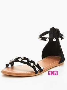 v-by-very-abbie-real-suede-pearl-deatail-flat-sandal-black