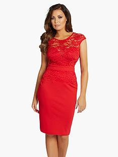 jessica-wright-lace-top-fitted-dress-red