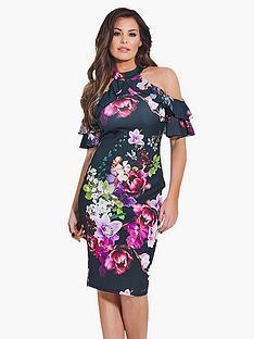 jessica-wright-floral-cold-shoulder-dress