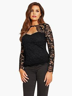jessica-wright-lace-sleeve-top-black