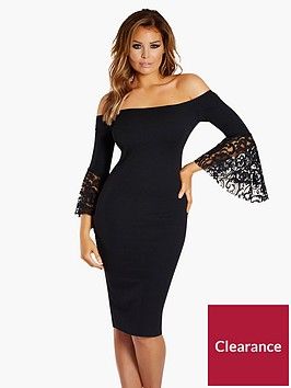 jessica-wright-bardot-lace-flare-sleeve-bodycon-dress-black