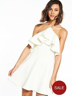rare-cold-shoulder-frill-dress