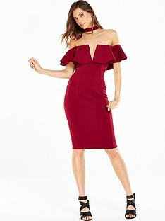 rare-ruffle-choker-midi-dress