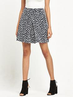warehouse-animal-print-skirt-monochrome