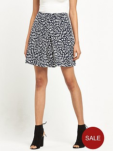 warehouse-animal-print-skirt-monochrome