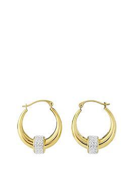 love-gold-9ct-gold-crystal-detail-hoop-earrings