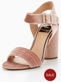 miss-selfridge-nude-velvet-buckle-sandal