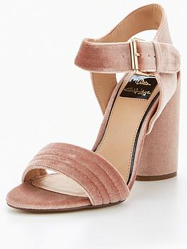 miss-selfridge-nude-velvet-buckle-sandal