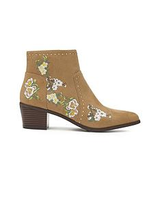 miss-selfridge-tan-embroidered-boot