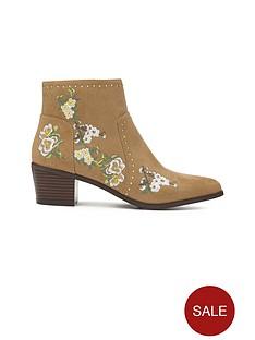 miss-selfridge-tan-embroidered-boot