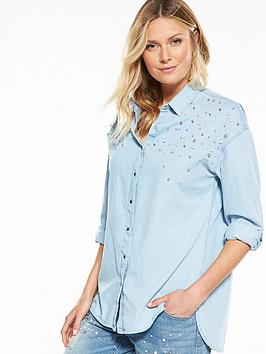 guess-pearl-embellished-relaxed-shirt