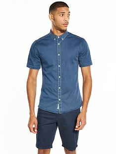 river-island-short-sleeve-muscle-fit-denim-shirt