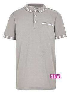 river-island-boys-grey-tipped-short-sleeve-polo-shirt